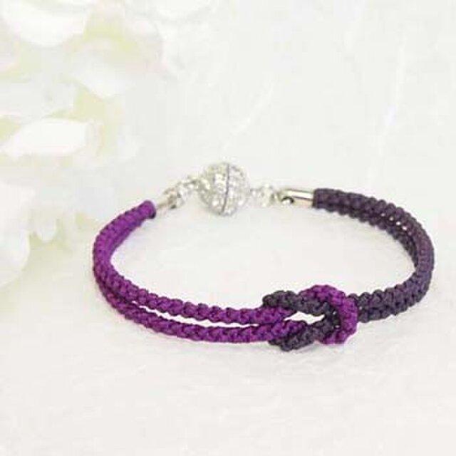 mu su fu(purple2)絹組紐ブレス キラキラマグネット留の画像1枚目