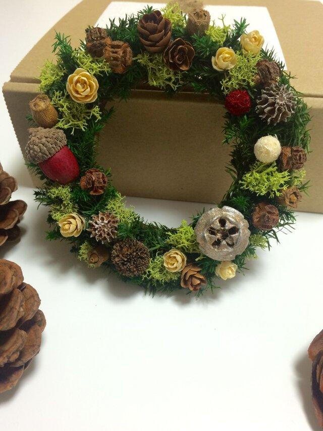 モスと木の実のクリスマスミニリースの画像1枚目
