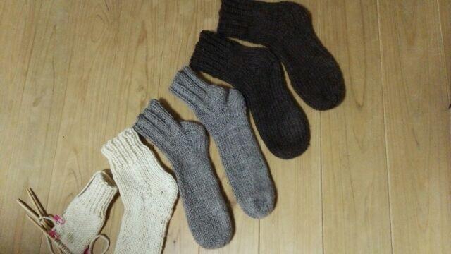 手編み*ウール100%ソックス*靴下の画像1枚目