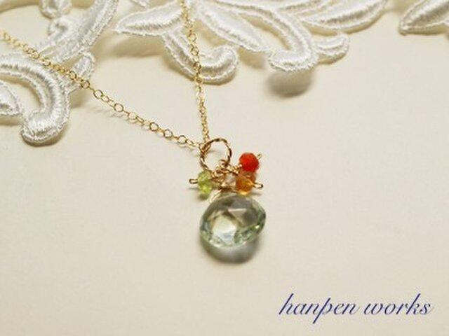 【SALE】 14kgf 宝石質 グリーン アメジスト ビタミンカラー ネックレスの画像1枚目