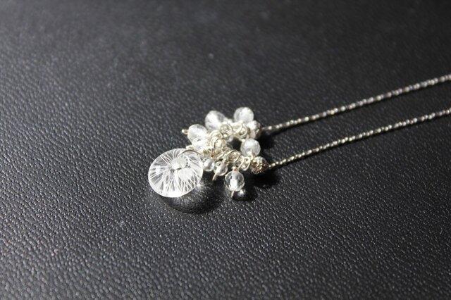〈Machiko+S〉×〈Cristal-g〉*蜻蛉玉〈無垢〉+鈴なり水晶のチェーンネックレスの画像1枚目