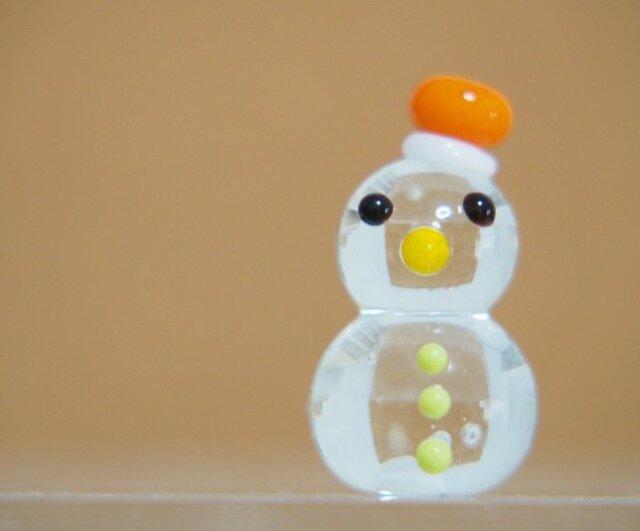クリア雪だるまのミニミニオブジェ オレンジぼうしの画像1枚目