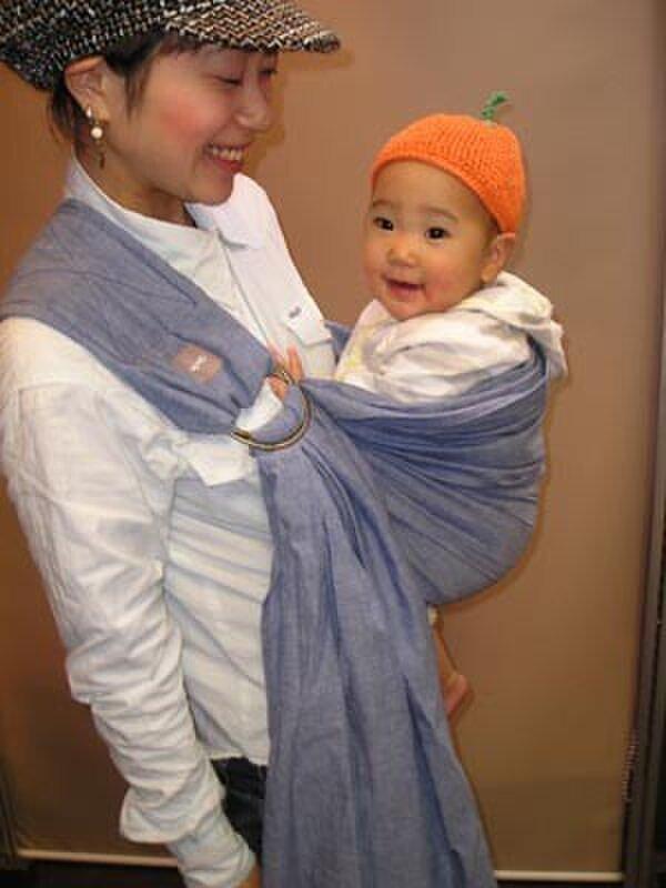 抱っこ紐 新生児 ベビースリング ムラ染シャンブレーコットン(ネイビー)の画像1枚目