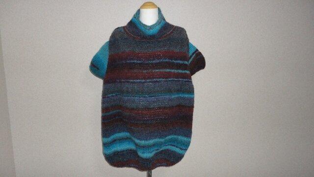 ターコイズ*グラデーション チュニックセーターの画像1枚目