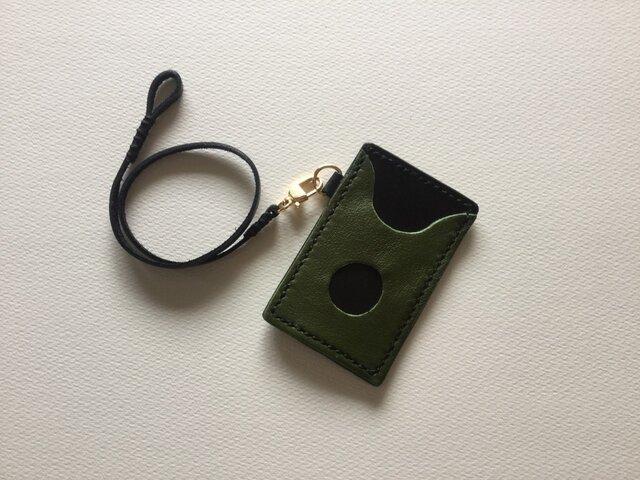 牛革パスカードケース 革ひも付 深緑✖️黒の画像1枚目