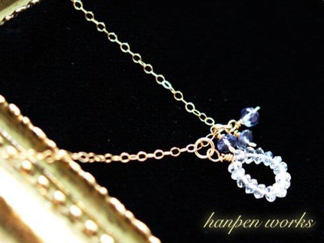 【SALE】 14kgf 宝石質 レインボー ムーンストーン アイオライト ネックレスの画像1枚目