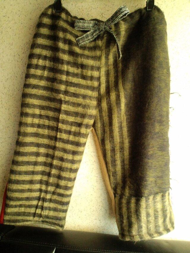 トラフ縞ズボン ウール寄せ布の画像1枚目