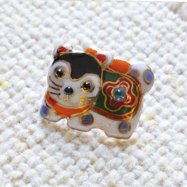 七宝焼ピンブローチ(ピンバッジ,ピンズ)  犬張り子の画像1枚目