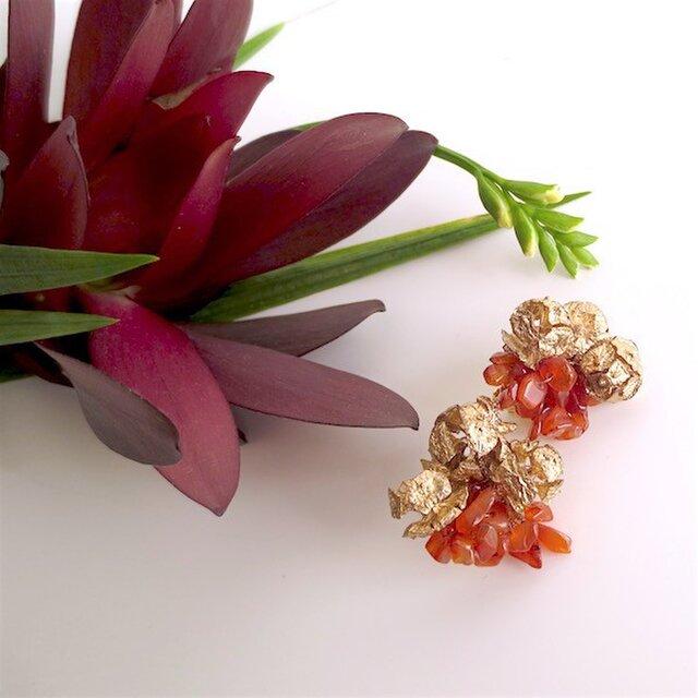 【再々販売】カーネリアン×ヒノキの実 イヤリング carnelian × hinoki cone scale earringsの画像1枚目