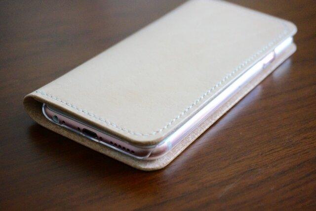 牛革 iPhone6/6sカバー  ヌメ革  レザーケース  手帳型  ナチュラルカラーの画像1枚目