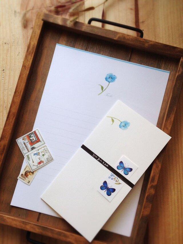 ヒマラヤの青い芥子 便箋の画像1枚目