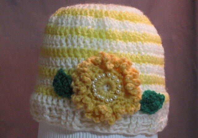 元気黄色のお花モチーフ付き帽子の画像1枚目