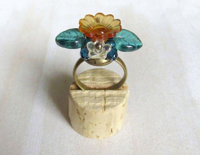 プラフラワーの指輪(クリアオレンジ)の画像1枚目