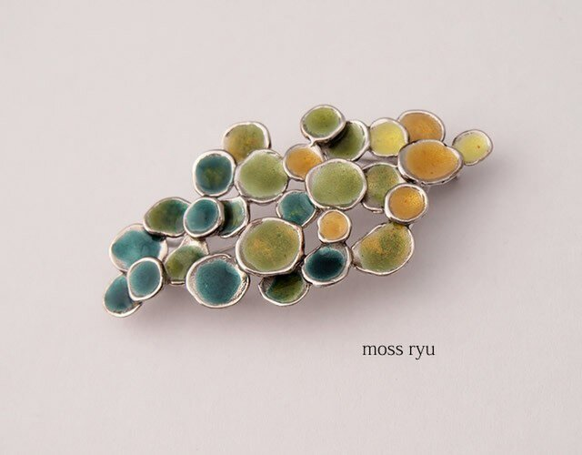 【送料無料】七宝のブローチRyB YujiKONO MossシリーズRyuの画像1枚目