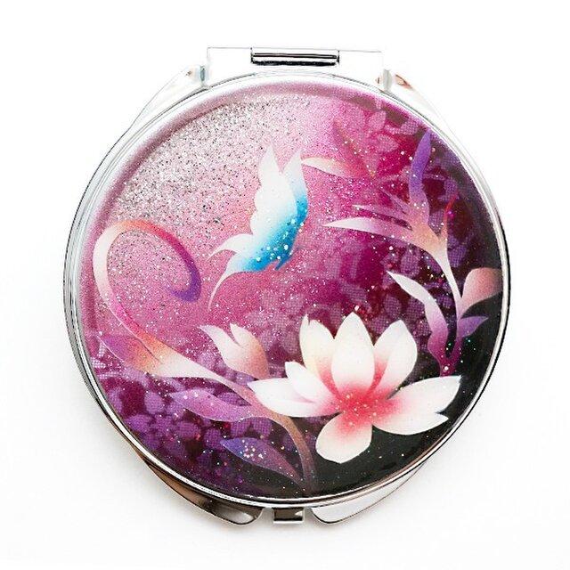 コンパクトミラー 蓮と蝶 ピンク紫 銀箔の画像1枚目