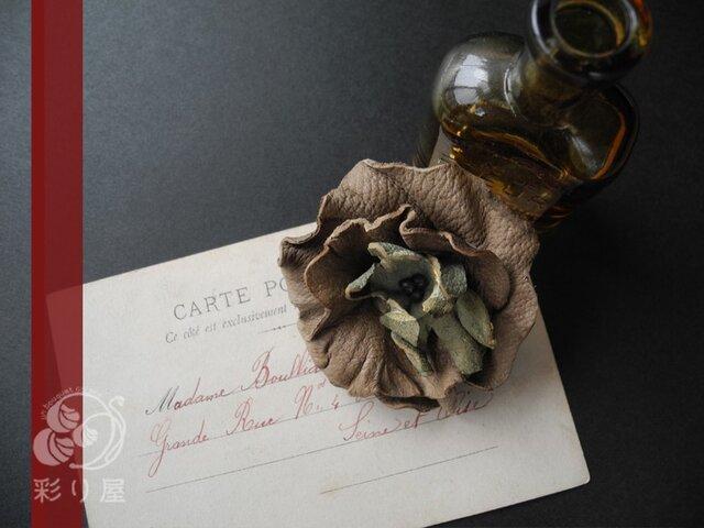 革花のヘアクリップ(モスグリーン)の画像1枚目