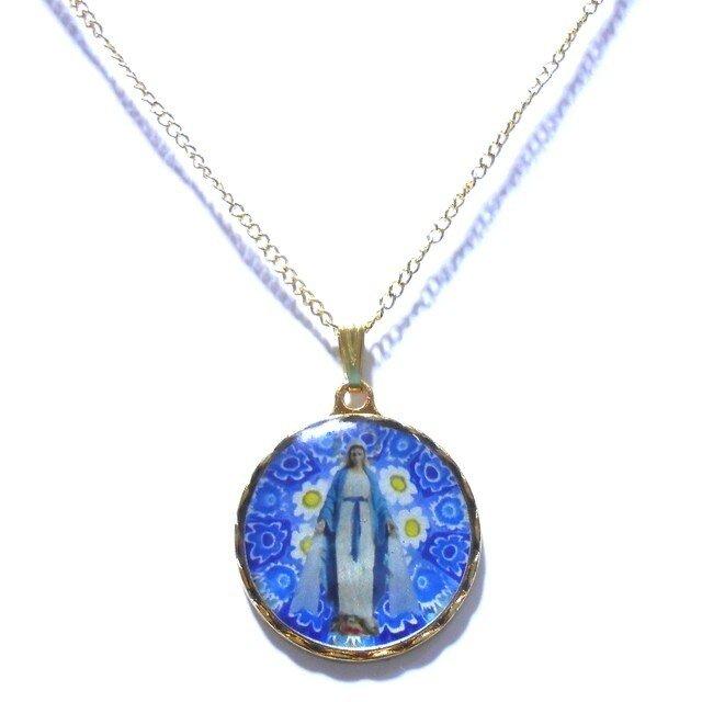 ヴェネチアングラス風聖母マリア様ネックレスペンダントの画像1枚目