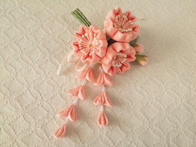 〈つまみ細工〉藤下がり付き桜三輪とベルベットリボンの髪飾り(サーモンピンク)の画像1枚目