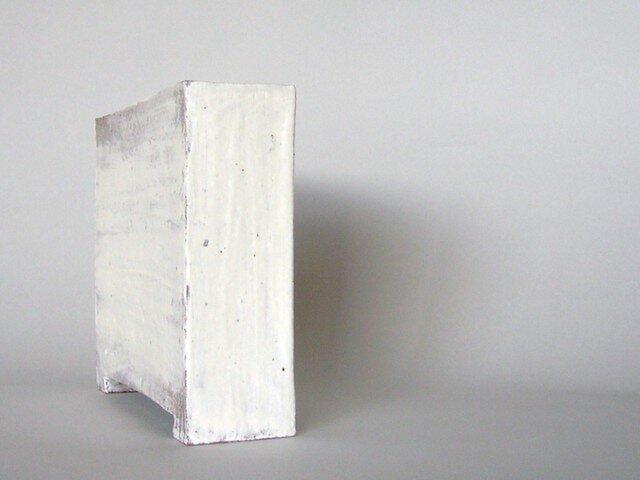 花器 足付角型 粉引き・刷毛目(大)の画像1枚目