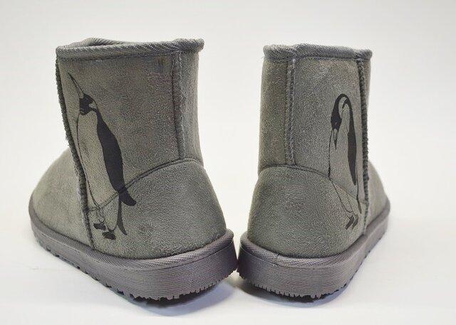 ペンギン ボアブーツ、靴、グレー、オリジナルデザイン、シルクスクリーン、冬物ブーツの画像1枚目