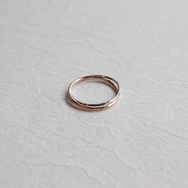 銀桃色十金極細二連指輪 rr-55の画像1枚目