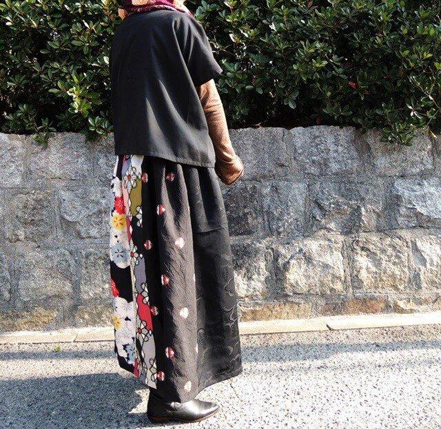 着物リメイク◇銘仙◇ロングスカートの画像1枚目
