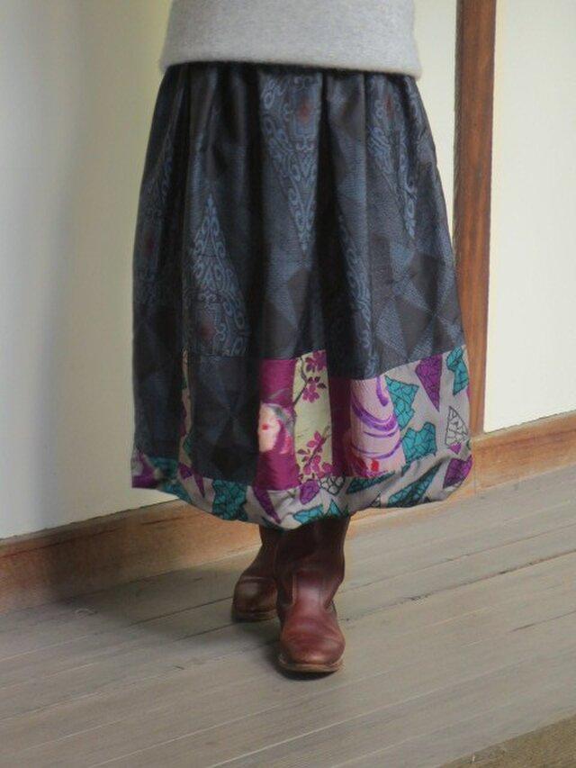 藍大島と銘仙でパッチリメイク☆大人のリバーシブルバルーンスカートの画像1枚目