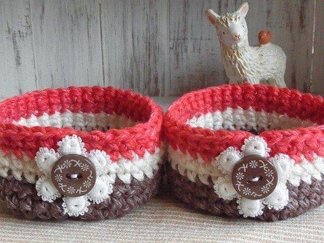 編みカゴ(茶&赤)2個組の画像1枚目