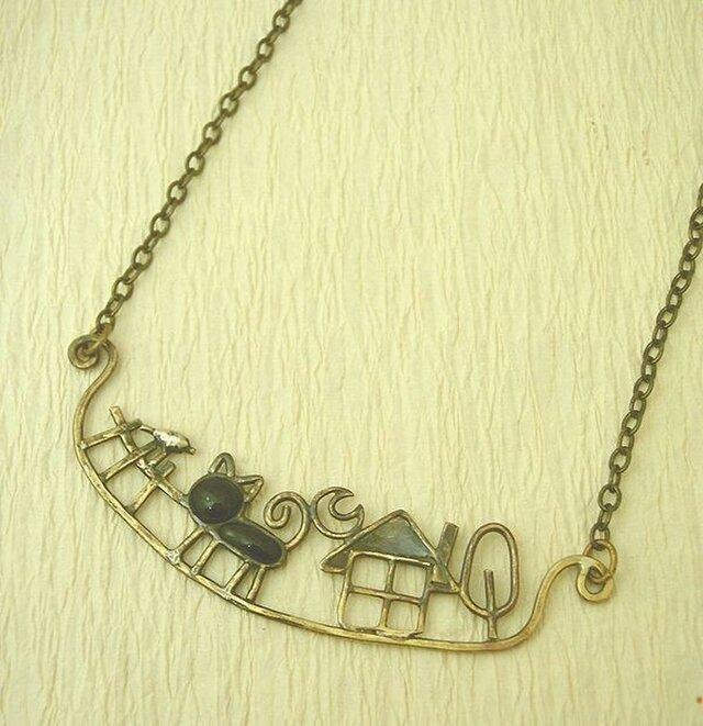 お散歩猫のネックレスの画像1枚目