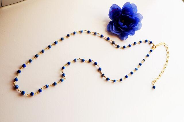 ラピスラズリ ネックレス Petit pierre Lapis lazuli amulet necklace N0008の画像1枚目