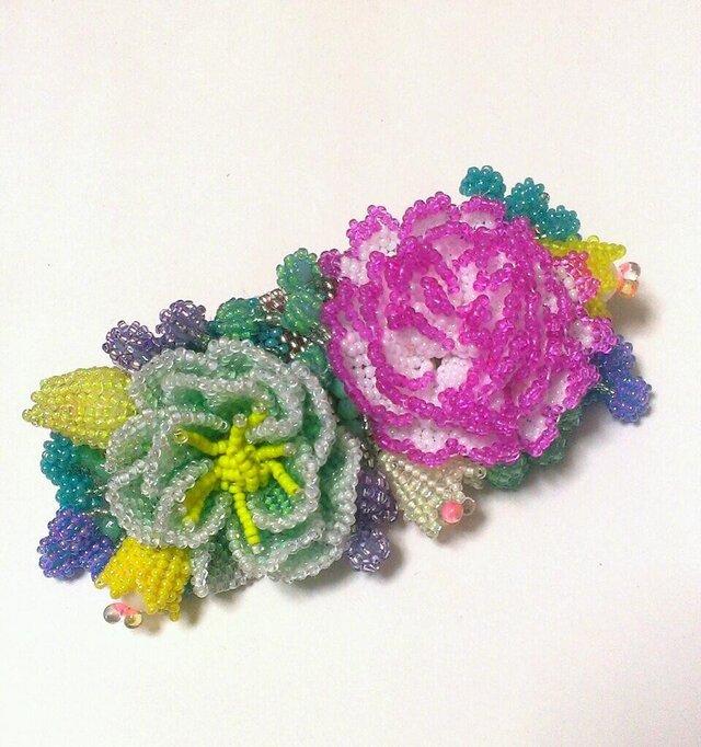バレッタ Bouquet(ピンクカーネーション)の画像1枚目