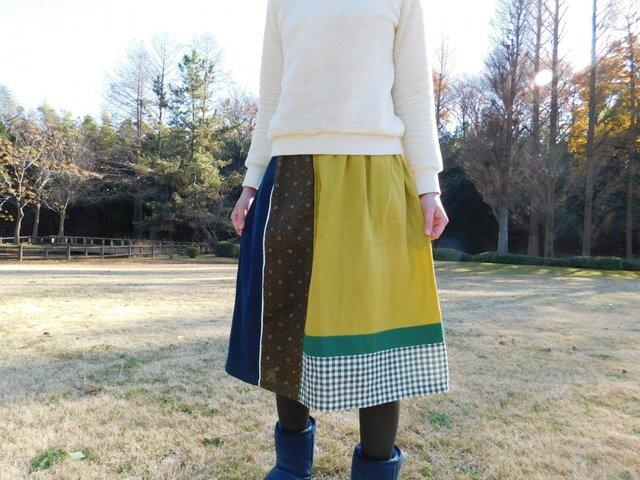 ダブルガーゼ♪パッチワーク ゴムスカート♪の画像1枚目