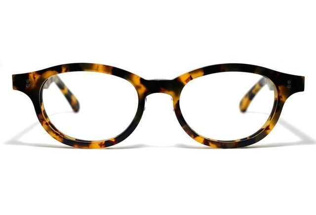 (男性向け)黄色と黒のマーブル模様のセルロイドメガネ068-バラフの画像1枚目