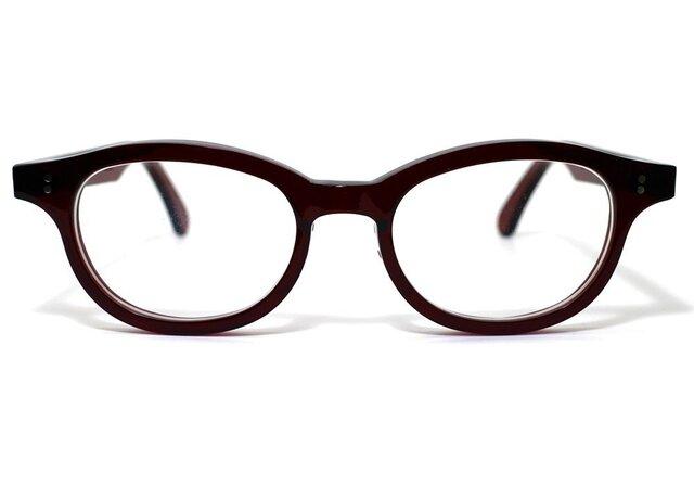 男性向けワインレッド生地のセルロイドメガネ068-RRの画像1枚目