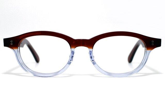 茶色と透明の希少二色生地使用のセルロイドメガネ068-CⅡCの画像1枚目