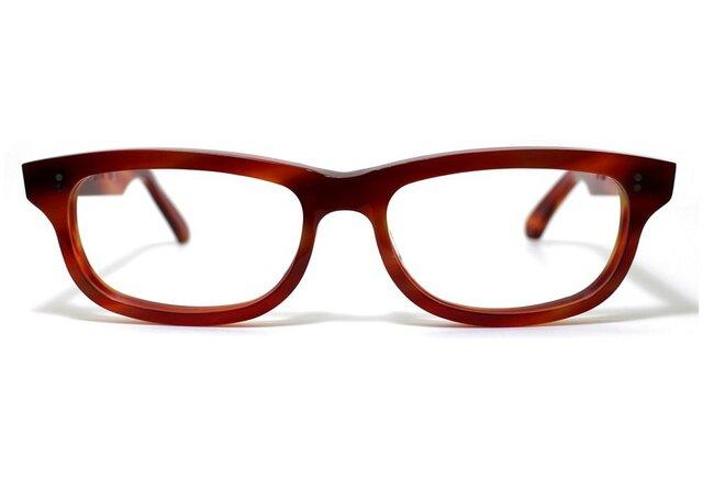 男性向け赤と茶色マーブル生地のセルロイドメガネ050-FFの画像1枚目