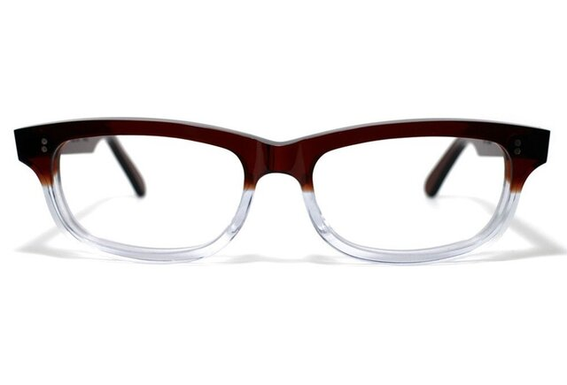 茶色と透明の希少二色生地使用のセルロイドメガネ050-CⅡCの画像1枚目