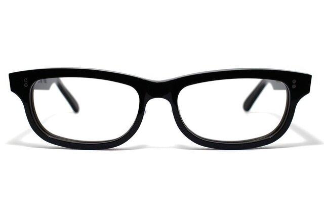 漆黒のようなダークブラウンのセルロイドメガネ050-BBの画像1枚目