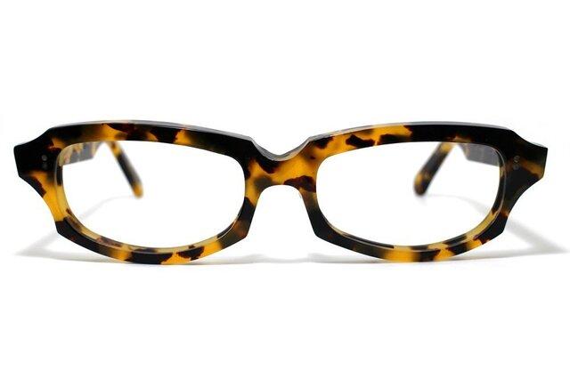 (男性向け)黄色と黒のマーブル模様のセルロイドメガネ049-バラフの画像1枚目