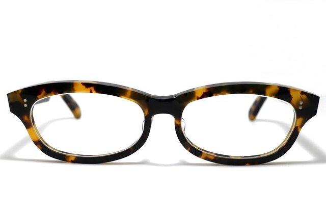 男性向け黄色と黒のマーブル模様のセルロイドメガネ048-バラフの画像1枚目