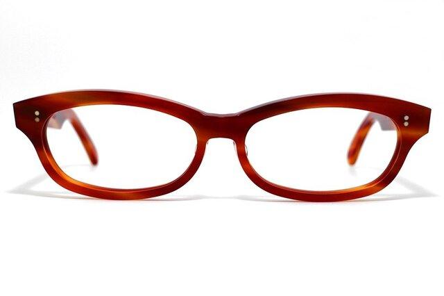 男性向け赤と茶色マーブル生地のセルロイドメガネ048-FFの画像1枚目