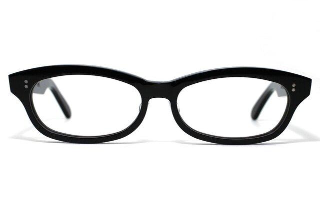 漆黒のようなダークブラウンのセルロイドメガネ048-BBの画像1枚目