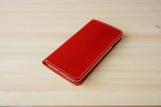 牛革 iPhone6/6sカバー  ヌメ革  レザーケース  手帳型  レッドカラーの画像1枚目
