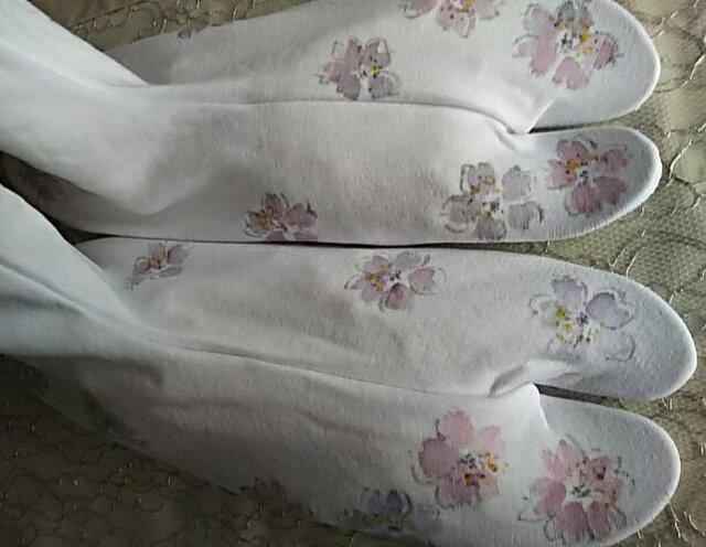 墨絵風桜の足袋 (ストレッチ)  手描きの画像1枚目