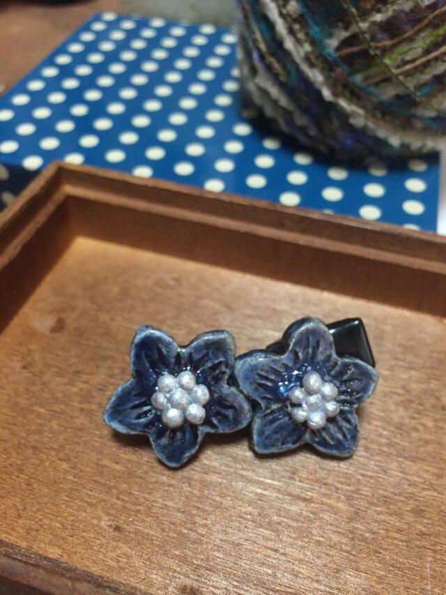 藍色のおはな✳︎髪どめの画像1枚目