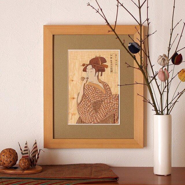 木はり絵「ポッペンを吹く娘」の画像1枚目
