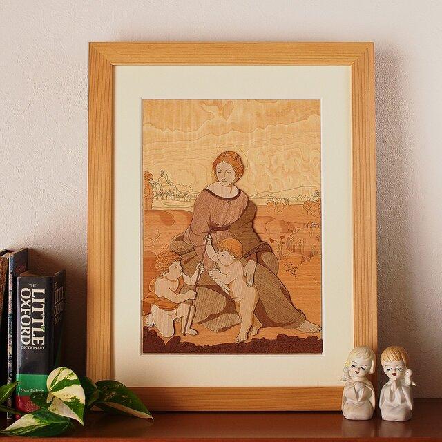 木はり絵「ベルヴェデーレの聖母」の画像1枚目