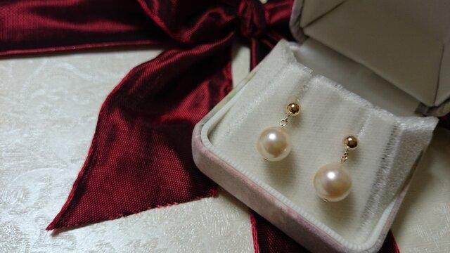 あこや本真珠  9㎜珠 k14gfピアスの画像1枚目