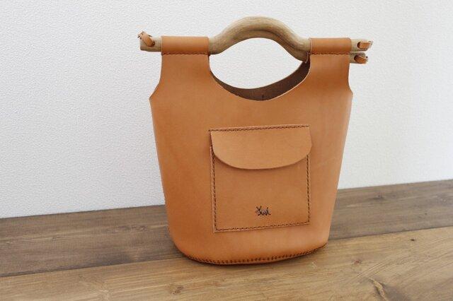 本革手縫いの ubud bag (ヌメ)の画像1枚目