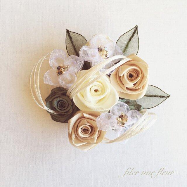 ribbon flower snow white|04の画像1枚目